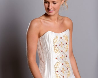 Elizabeth hand-embroidered corset in ivory silk