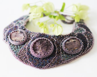 Bead embroidery statement collar  necklace  with Amethyst gemstones bead weaving jewelry  OOAK