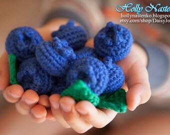 Crochet blueberry play food Handmade Amigurumi Waldorf Easter basket eco-friendly toys