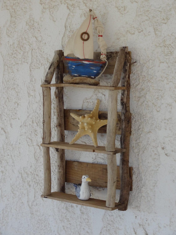 Driftwood display shelving driftwood wall art driftwood for Driftwood wall shelves
