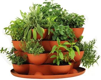 Stackable Garden Planter / Flower Pot - Indoor / Outdoor / Deck / Patio  -Tons of Grow Pockets - Herbs, Flowers, House Plants, etc...
