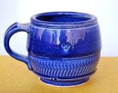 Royal blue, dark denim and purple, pottery mug, handmade, wheel-thrown ceramic stoneware