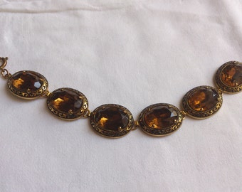 Vintage smoky quartz glass diamante bracelet