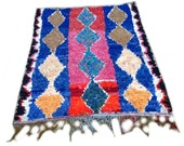 Boucherouite from Morocco. Colorful Modern Wall Art Painting Rug. Mid Century Modern Style. Blue Red Tribal Quilt.