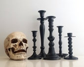 Black Candlestick Holders / Set of 5, Halloween, Candle Holders, Spooky, Flea Market Chic, Grouping, Home Decor, Centerpiece, Mantel