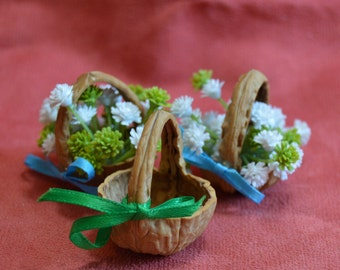 Fairy Basket - Miniature Basket from a walnut shell