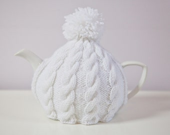 White Hand-Knit Tea Cozy with Pom-Pom - Ready to ship!