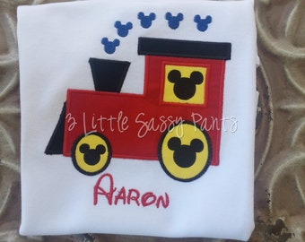 Mickey Mouse Train Embroidered Shirt- Birthday Shirt- Applique- Choo Choo Train Shirt- Custom
