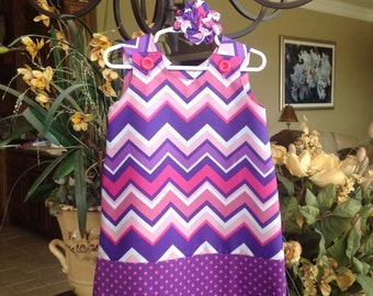 Pink and Purple Chevron Dress w Dotted Band (girls, baby, toddler, infant, child) Spring, Summer,  jumper or sundress