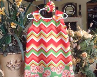 Orange, Green and Yellow Chevron Dress w Citrus Band (girls, baby, toddler, infant, child) Spring, Summer,  jumper or sundress