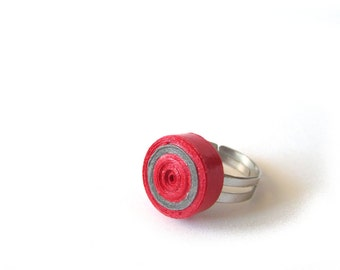 Red Grey Quilling Paper Adjustable Ring, Pastel Quilled Paperwork, Quilling Ring, statement ring, eco friendly ring