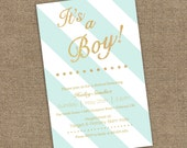Boy or Girl Baby Shower Invitation - Stripes and Gold