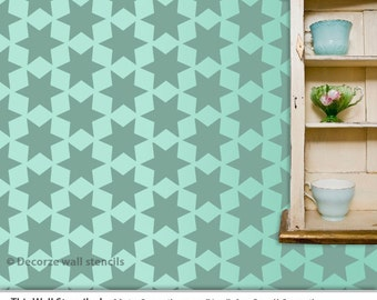 Geometric Wall Room Decor Made by decorze Stencils, Reusable wall stencil