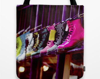 Doc Marten Tote Bag design, Colourful English, vintage classic photography accessory