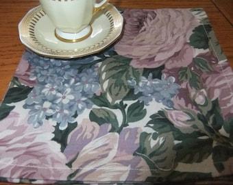 Set of 10 Hemmed Cotton Napkins, Subtle Purple and Violet Roses and Hydrangeas