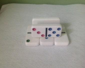 White Domino Business Card Holder