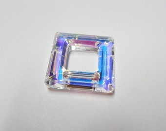 20x20mm Swarovski crystal, Crystal AB, faceted square ring fancy stone (4439).