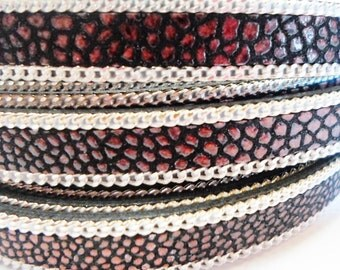 10mm Flat Leather Cord with Silver Chain per 8 inches, Red Black Ray