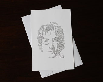 The Beatles John Lennon Christmas Card Drawn From His Happy Christmas (War is Over) Lyrics, Xmas Contemporary Music Greeting Card