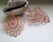 Bronze Lace Earrings, Steampunk Earrings, OOAK Earrings, Lace Earrings, Accent Jewelry, Copper Earrings, Flower Earrings