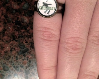 Handmade Green Day 'Adjustable' Ring (12mm)
