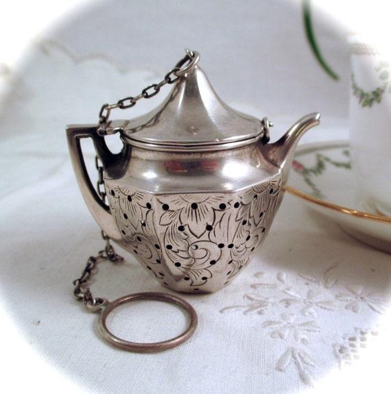 Vintage Sterling Tea Ball Webster Sterling Silver Etched Tea