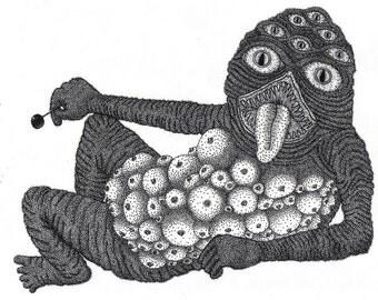 Lollipop Monster 2- Pen & Ink illustration