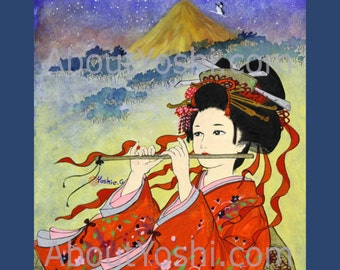 "Japanese Art -  Geisha ""Bamboo Flute""  16 x 20 watercolor on canvas."