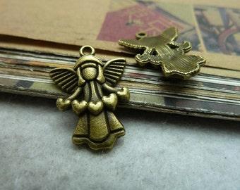 30pcs 17x22mm Antique Bronze Loving Heart Angel Charms Pendants Jewelry Findings AC7300