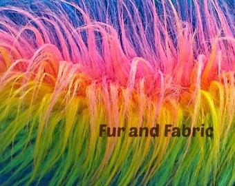 Rainbow Shag Faux Fur Fabric Clown Shaggy Yardage Remnant Piece Mongolian Long Hair