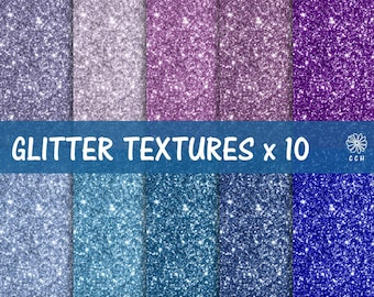 Blue and Purple Glitter Digital Paper - glitter backgrounds in 10 cool colors - digital glitter paper - Commercial Use - Instant Download