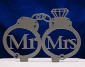 Handcuffs wedding cake topper - Mr. and Mrs. wedding cake topper - police cake topper - law enforcement cake topper - handcuffs topper
