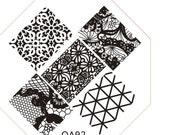 Cute QA92 Octagonal  Stamping Metal Plate with free gift of scraper&stamper