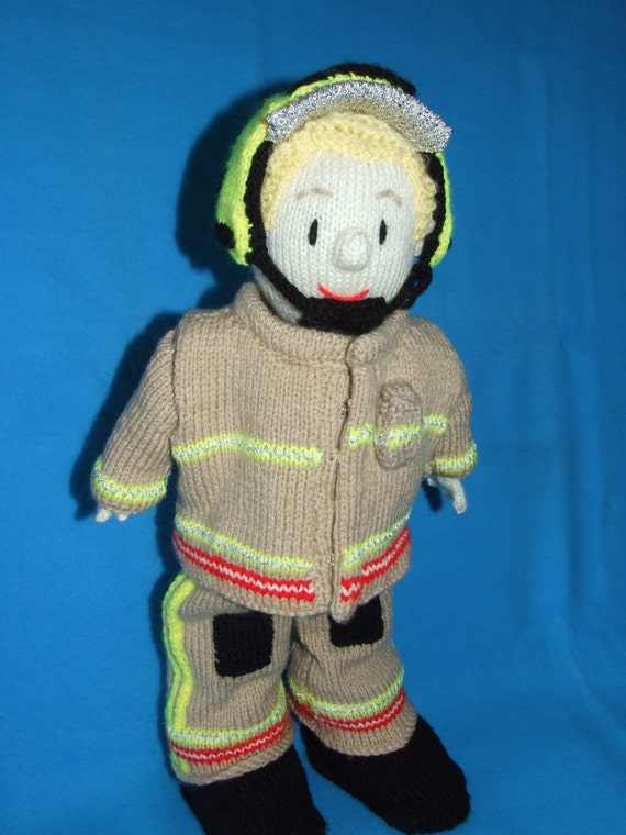 Knitted fire fighter mascot