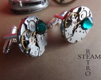 10% off sale17  Mens Emerald Steampunk Cufflinks - Cuff links Steampunk Watch movement Cufflinks - Steampunk Jewelry - personalized jewelry
