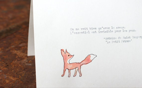 "The Little Prince Famous Quotes Quotesgram: Le Petit Prince/The Little Prince Quote 5x7"" Tent Card"