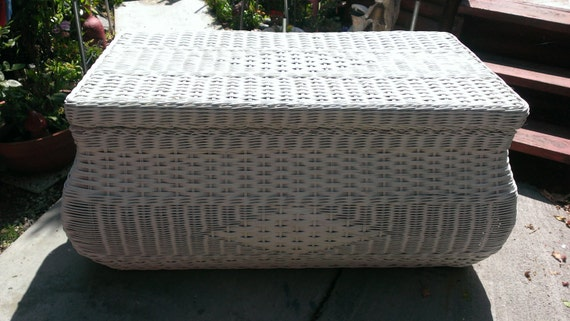 Items Similar To Vintage Wicker Rattan Trunk Chest Coffee Table