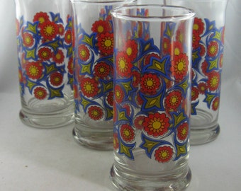 "70s: 5 iconic tumblers / glasses with floral decoration flowers ""Prilblumen"". 5 pieces. Vintage"