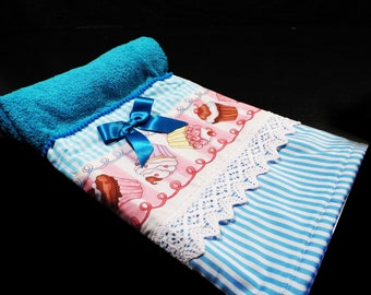 Blue hand towel cupcakes
