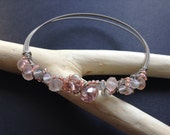 Guitar String Bracelet // Wire Wrap Crystal Beads // Fire Polished // Peach Pink Clear Beads // Salty Sparrow Designs