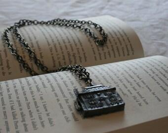 Gunmetal House Pendant Charm Necklace