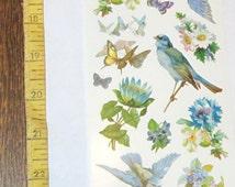VIOLETTE VICTORIAN pretty beautiful spring BLUEBIRDS blue jays birds flowers sticker sheet scrap booking card making art craft decoupage