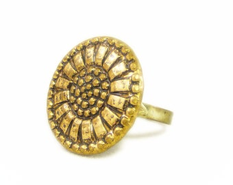 Gold Tone Open Sunflower Adjustable Button Ring