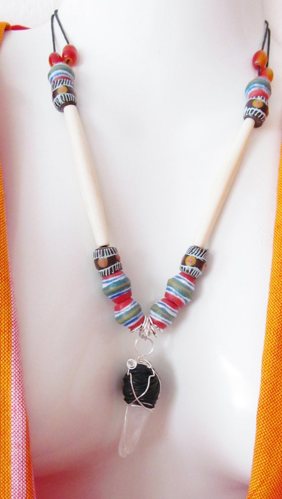 Healing Chrystal quartz -carved bone - trade beads - African style necklace