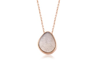 8K Solid Gold Moonstone Necklace,Grey Moonstone,Pink Moonstone,Natural Stone Necklace,Mom Jewelry,Gift For Her,Christmas Gift,Free Shipping