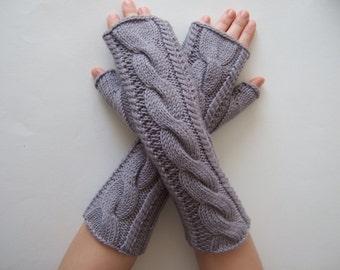 Knitted of 100 % soft MERINO wool. Light gray / violet fingerless gloves, fingerless mittens, wrist warmers. Handmade.