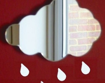Cloud and 5 Raindrops Mirror - 5 Sizes Available