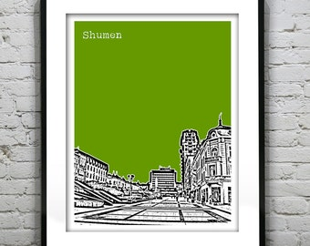 Shumen Bulgaria City Skyline Art Print Poster Version 2