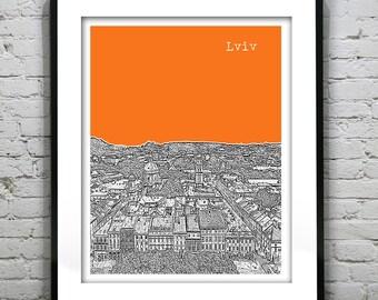 Lviv Skyline Poster Art Print Ukraine