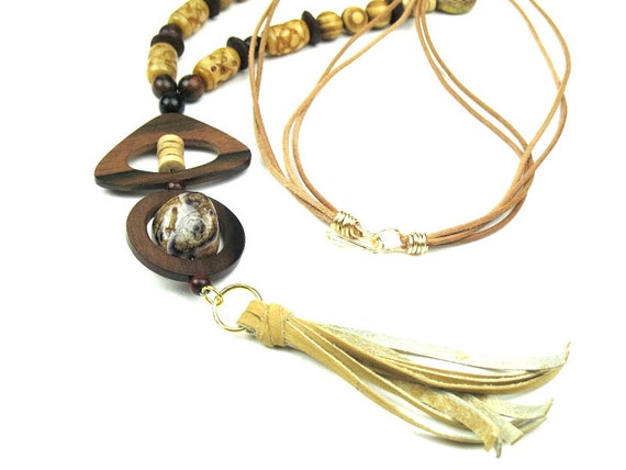 Bohemian Statement Necklace in Brown with Leather Tassel, Wood Pendants and Jade, Ebony and Brass Beads